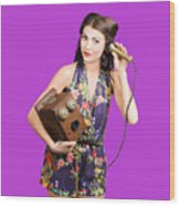 Retro Receptionist On Vintage Telephone. Call Us Wood Print