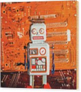 Retro Robotic Nostalgia Wood Print