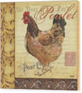 Retro Rooster 1 Wood Print