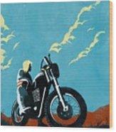 Retro Scrambler Motorbike Wood Print