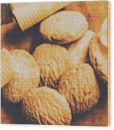 Retro Shortbread Biscuits In Old Kitchen Wood Print