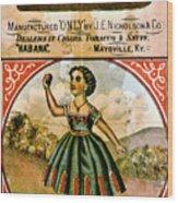 Retro Tobacco Label 1868 C Wood Print