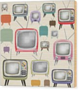 retro TV pattern  Wood Print by Setsiri Silapasuwanchai