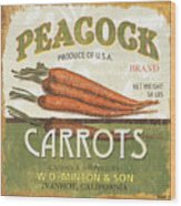 Retro Veggie Label 2 Wood Print