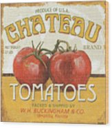 Retro Veggie Labels 4 Wood Print