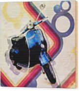 Retro Vespa Scooter Wood Print by Michael Tompsett