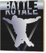 Retro Vintage 90s Chrome Skydiver Battle Royale Gamer T Shirt Wood Print