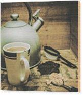 Retro Vintage Toned Tea Still Life In Crate Wood Print