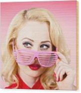 Retro Woman Model Wearing Summer Sun Glasses Wood Print