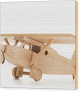 Retro Wooden Airplane Isolated On White Background Wood Print