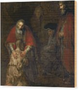 Return Of The Prodigal Son Wood Print by Rembrandt Harmenszoon van Rijn