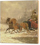 Returning Home In Winter Wood Print by Charles Ferdinand De La Roche