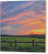 Retzer Nature Center - Summer Sunset Over Field And Fence Wood Print