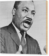 Rev. Martin Luther King, Speaking Wood Print by Everett