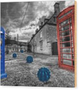 Revenge Of The Killer Phone Box  Wood Print by Rob Hawkins