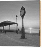 Revere Beach Clock At Sunrise Revere Ma Black And White Wood Print