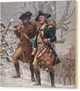Revolutionary War Soldiers Marching Wood Print