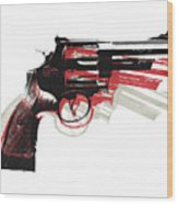 Revolver On White - Right Facing Wood Print by Michael Tompsett