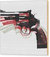 Revolver On White Wood Print
