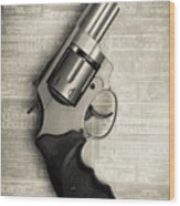 Revolver Pistol Gun Over Drawings Wood Print