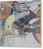 Revolver With Spurs Wood Print