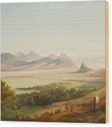 Rhenish Landscape With A View Of The Siebengebirge Wood Print