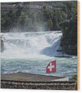 Rhine Falls In Switzerland Wood Print