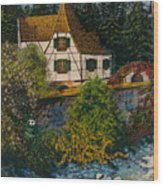 Rhine River Cottage Wood Print