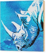 Rhino Animal Decorative Blue Poster 1 - By  Diana Van Wood Print