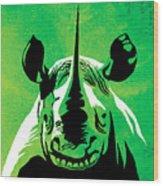 Rhino Animal Decorative Green Poster 5 - By Diana Van Wood Print