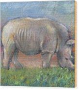 Rhino Wood Print by Arline Wagner