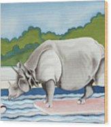 Rhino In La Wood Print