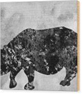 Rhinoceros-black Wood Print