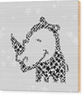 Rhinoceros Black Stars Wood Print