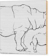 Rhinoceros Comparison Wood Print