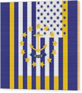 Rhode Island State Flag Graphic Usa Styling Wood Print