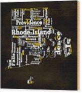 Rhode Island Typographic Map Wood Print