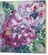 Rhododendron And Lily Of The Valley Wood Print