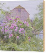 Rhododendrons By A Watermill Wood Print by George Marks