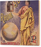 Rhum - Bottle - Earth - Map - Poster - Vintage - Wall Art - Art Print  - Girl  Wood Print