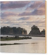 Rialto Beach Sunset On The Pacific Coast In Washington Wood Print