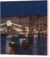 Rialto Bridge In Venice At Night With Gondola Wood Print
