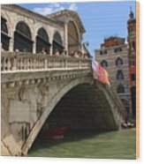 Rialto Bridge In Venice Wood Print