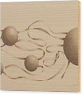 Ribbons And Spheres Wood Print