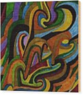 Ribbons Of Color Wood Print