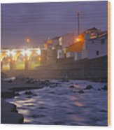 Ribeira Grande At Night Wood Print