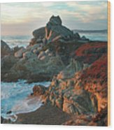 Ribera Beach Sunset Carmel California Wood Print