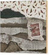 Rice Paddies Collage Wood Print