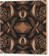 Rich Coffee Fractal Roses Wood Print