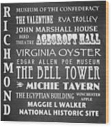 Richmond Famous Landmarks Wood Print